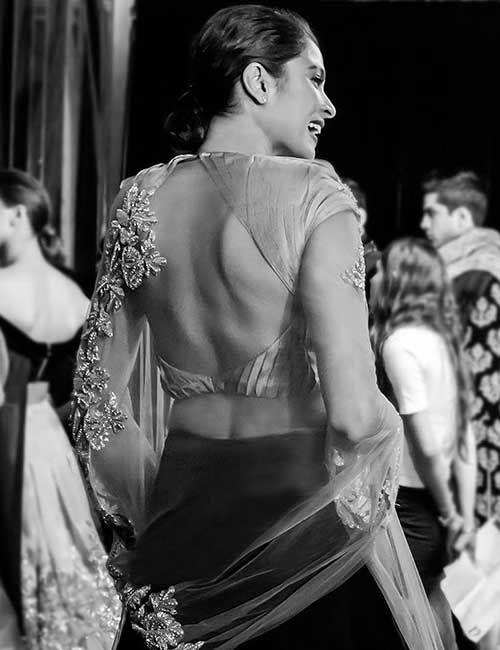16. Satin And Sheer Lehenga With Broad Back Neck